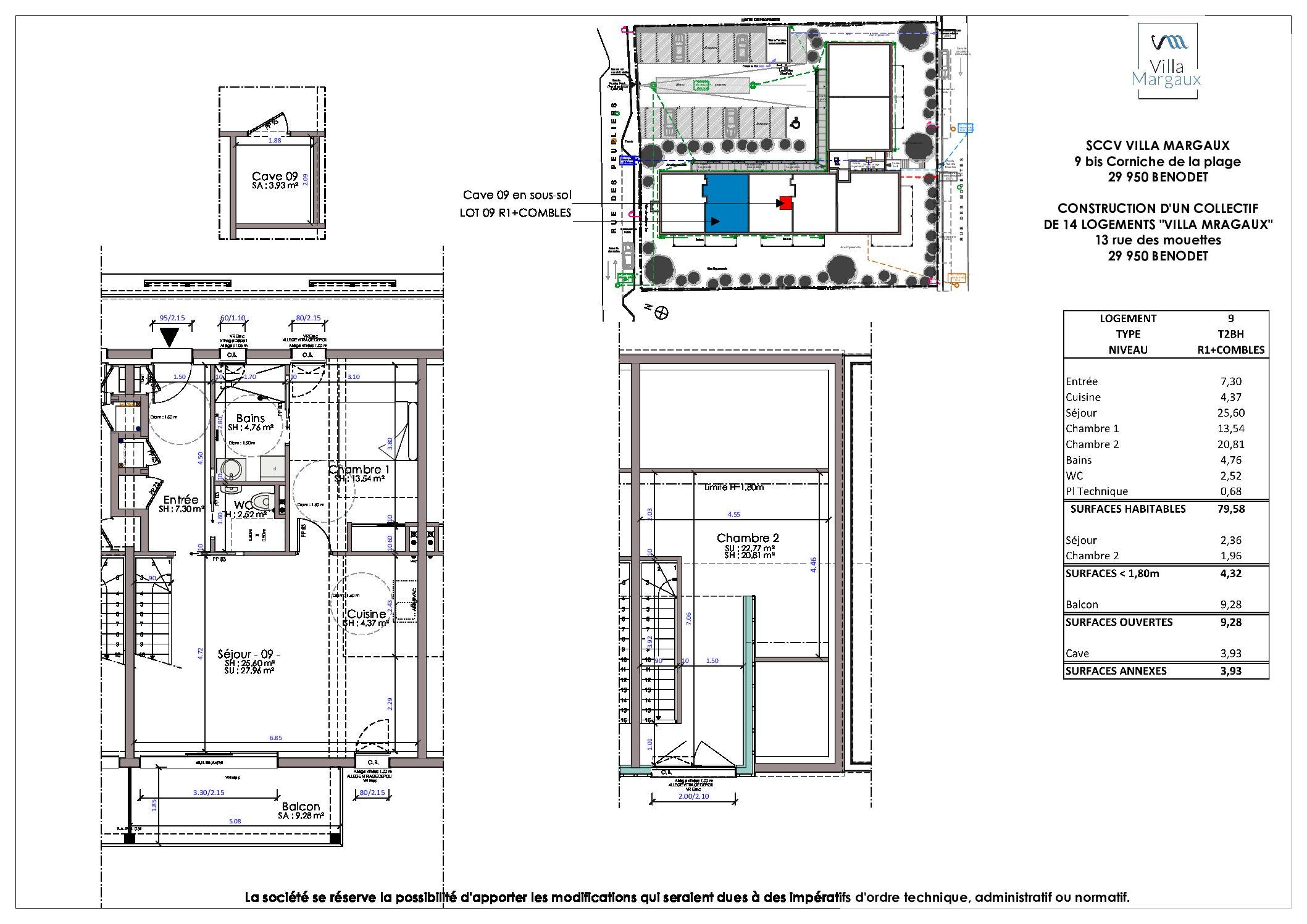 plan appartement neuf T3 BENODET